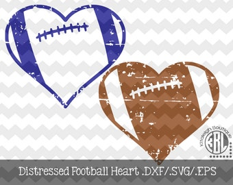 Football Heart Distressed INSTANT DOWNLOAD in dxf/svg/eps for use with programs such as Silhouette Studio and Cricut Design Space