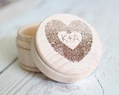 Fingerprint Ring Box Thumbprint Heart Engraved Ring Box Wedding Ring Box #DownInTheBoondocks