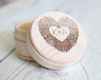 Fingerprint Ring Box Thumbprint Heart Engraved Ring Box Wedding Ring Box #DownInTheBoondocks