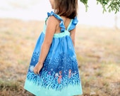 Chasing Fireflies Flutter Dress - Blue and Mint Girls Dress - Girls and Toddler Sundress - Summer Nights Dress - Baby , Toddler, Girls Dress