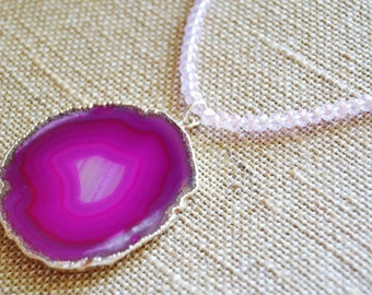 FUSCHIA QUARTZ SLICE Necklace Pink Silver Gilded Edge Quartz Pink Crystals