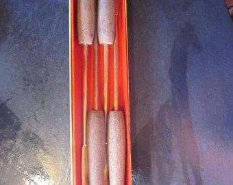 4 large wood metal fondue forks,, ernest john creations, original box