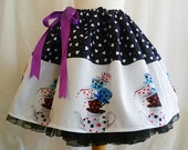 Mad Hatters Tea Party Full Skirt, ONE of A KIND by Rooby Lane