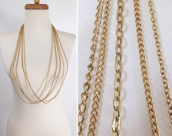 Multi Chain Layering Necklace. 5 Gold Tone Chains. Layered Necklaces. Fall Jewelry. vintage 80s costume jewelry. gift for teen girl
