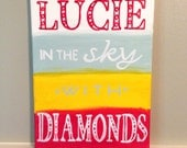 "Lucy in the Sky with Diamonds the Beatles- nursery art, girls room painting- 9""x12"" painting on canvas"