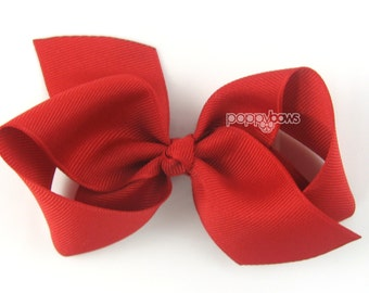 NEW STYLE - Loopy Pinwheel Hair Bow - Red Hair Bows 3.5 Inch Solid Color Boutique Bow for Baby Toddler Girls