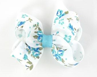 Floral Hair Bow - blue hair bows - toddler hair bows - 3 inch bows, 3 inch hair bows, girls bow, baby hair bow, non slip - flower babies