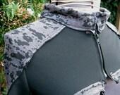 grey and black cybershrug post apocalyptic bolero zip front shrug