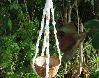White 40 1/4 Inch Beads Macrame Plant Hanger