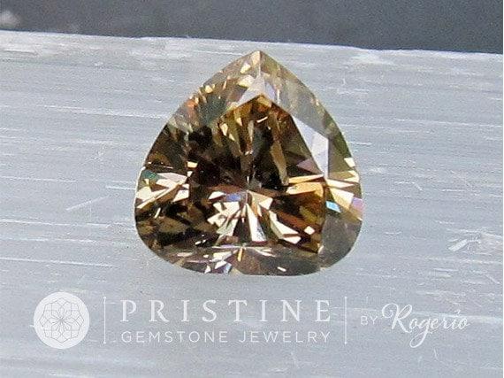 Champagne Diamond Heart Shape for 14K Gold Engagement Ring Heart Shape April Birthstone