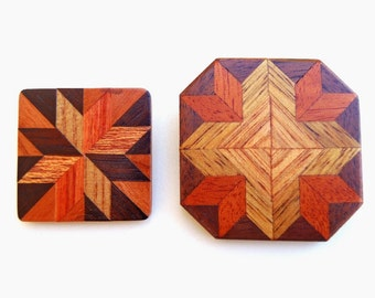 Vintage Marquetry Brooch Pins Inlaid Wood Two Geometric Brooches Wooden Design Chevrons Squares Triangles Geometrical Handcrafted Jewelry