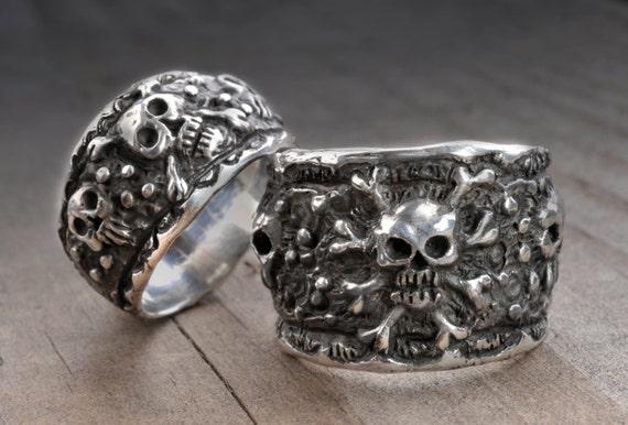 Skull Wedding Ring SetPirate Wedding Ringssilver skull