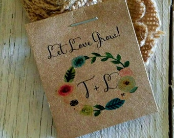 Personalized MINI Floral Bridal Shower Flower Seed Packet Favors Sow in Love Wildflower Seeds Wedding Favors Rehearsal Dinner Thank You