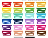 Rainbow Laundry Baskets Clipart Set - laundry, rainbow, baskets, chores, washing - personal use, small commercial use, instant download