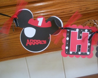 Mickey Banner, Mickey Pirate Banner, Mickey Mouse Pirate Birthday Banner, Red White Black Mickey Banner,  Photo Prop and Decorations