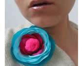 Folwer with fluo pompon - floral booch, blue and amaranth, romantis brooch, flower pin, satin flower