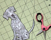 Weimaraner Articulated Paper Doll, Gift Tag or Magnet