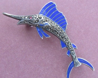 Summer Sale Swordfish Brooch Sterling Silver Enamal Marcasite Antique Pin By Uncas Manufacturing Circa 1940 s