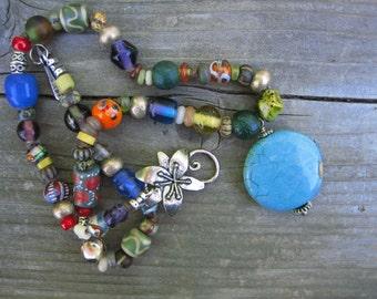 AFRICAN TRADE BEAD necklace Southwestern turquoise pendant bold boho