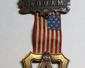 Antique Jr.OUAM Masonic Medal Order of American Mechanics   Steampunk??