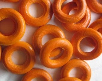 Orange Wood Donut Beads 25mm 14 Beads