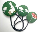 Forest Fun - Bunnies and Toadstools - set of three ponytail holders - Quality quilting fabric covered buttons with snagless elastics Green