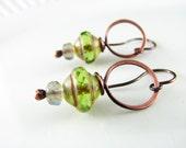 Wire Wrapped Earrings Copper Wire Jewelry Peridot Earrings Dangle Hoop Earrings Wire Wrapped Jewelry Copper Earrings Czech Picasso