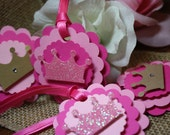 Princess Tags 12 Ct- Crown Tags- Birthday- Baby Shower- Custom Colors/Personalization Available