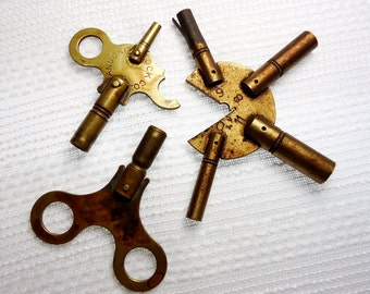 Past Imperfect: 3 Brass Clock Winding Keys - Vintage Industrial Shabby