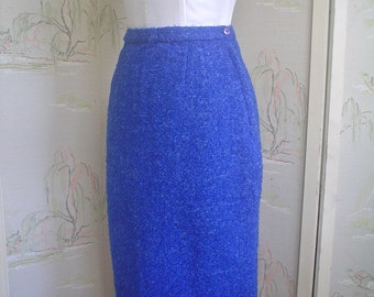 Vintage Pencil Skirt Royal Blue Wool Boucle New Old Stock Small