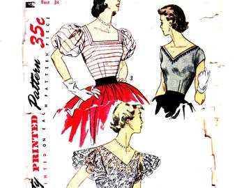 Simplicity 3840 Size 16, Bust 34 Vintage Blouses Three Blouse Styles 1950's