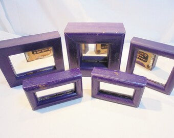 Vintage Wood Framed Mirror Picture Frames Lot of 5 Purple Painted Shabby Chic Wall Decor Retro Modern Wedding Artwork Wall Hangings