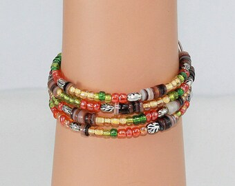Memory wire wrap bracelet, tribal look, African inspired, one size fits most, multicolored beaded bracelet, African tribal jewelry.