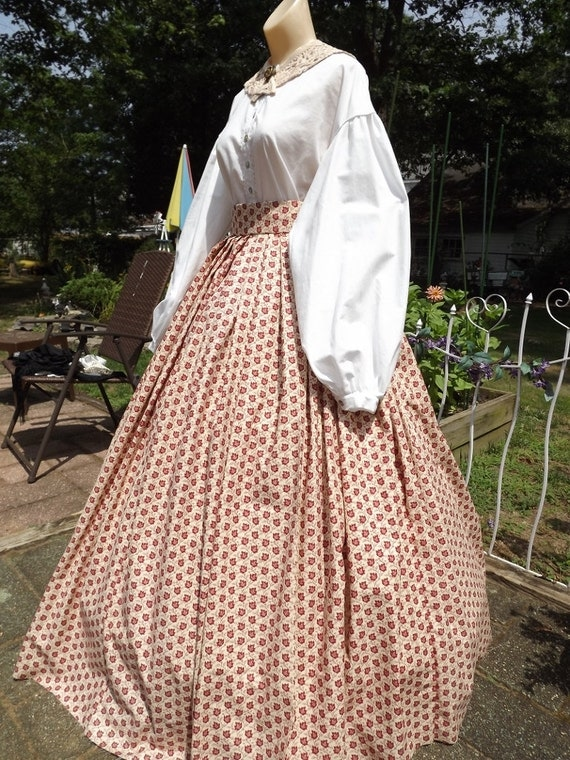 Steampunk Skirts | Bustle Skirts, Lace Skirts, Ruffle Skirts Ladies Civil War Skirt Red Leaf Print Skirt Variable Size Waist Civil War Skirt Reenactors Skirt $50.00 AT vintagedancer.com