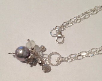 MADE TO ORDER Lilac Grey Silver Pearl Pendant ,Silver jewelry, Bridal, Freshwater Pearl