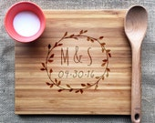 Laurel Wreath Engraved Cutting Board Personalized With Initials & Date, Anniversary or Wedding Gift, Bamboo Cutting Board, Personalized Gift