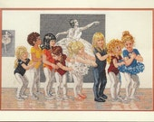 """90s """"The Line Up"""" Bucilla Counted Cross Stitch Kit 40903 UnOpened Ballet Cross Stitch Kit designed by Corinne Harley"""