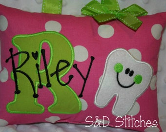 Tooth Fairy Pillow for Girls Personalized - Polka Dots - Custom Made - Boutique
