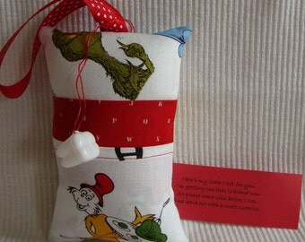 Tooth Fairy Pillow with tooth holder: Green eggs and ham