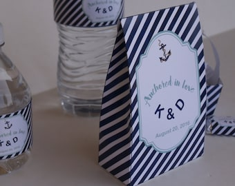 Set of 10. Nautical wedding favors, pinch bags, Nautical favor bag, favor bags, candy bags, wedding baggies, favors, wedding favors