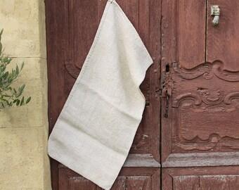 French Antique Hemp Linen Grain Sack, Heavy weight Fabric Herringbone Weave, Hand Woven, Upholstery Fabric, Table Runner