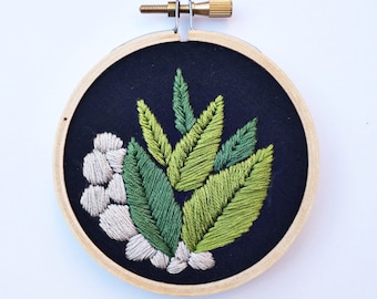 Terrarium Close Up Hand Embroidery Wall Art Home Decor Tiny Embroidery Hoop Gift Add On Rocks and Plant Lover Gifts Under 50