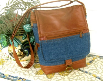 Faux Vegan Leather and Denim Crossbody Handbag - Brown and Navy - 9 Pockets