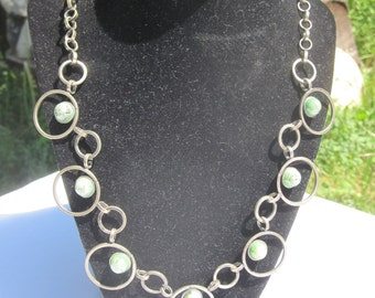Modernist Circle Necklace with Green Stones