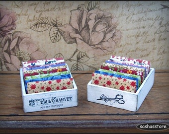 Miniature dollhouse fabric, 12th scale sewing miniature, box with fabric