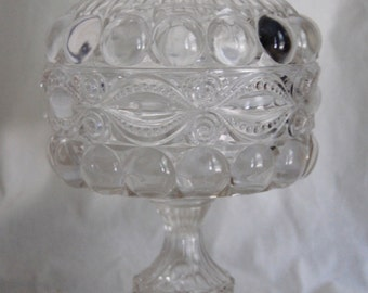 Antique Victorian EAPG Eyewinker Large Covered Compote Dalzel Gilmore Leighton