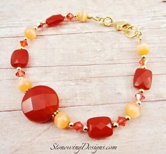 Carnelian Fiber Optic and Swarovski Bracelet, Gemstone Bracelet, Carnelian Bracelet, Orange and Peach Bracelet, Fall Colors Jewelry