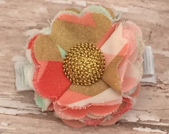 Beautiful Coral White Gold Mint Frayed Fabric Flower Hair Clip Clippie Babies, Toddlers, Girls