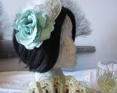 Pascal Fascinator with Turquoise Rose, Pearls, Silver Wings, Wedding Fascinator, Party Fascinator, Ash Tree Meadow Designs