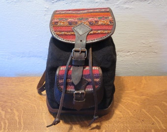 Mini Ethnic Backpack - Boho Hippie Backpack Woven and Leather Backpack